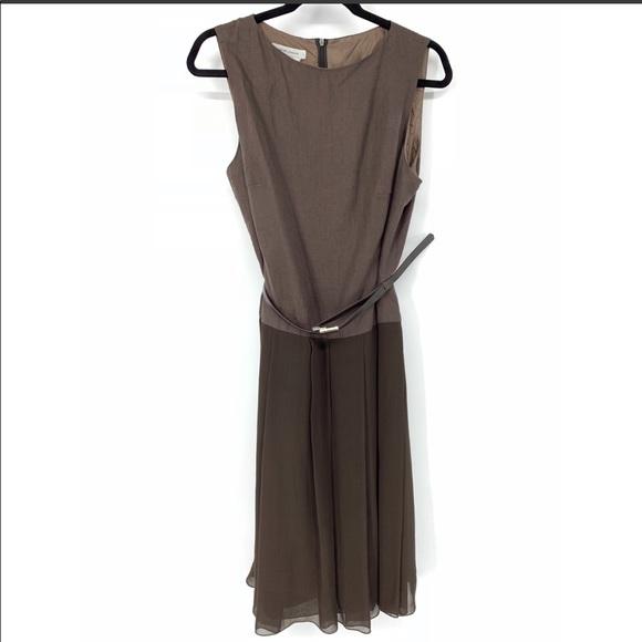 Rene Lezard Dresses & Skirts - Rene Lezard belted pleated brown dress